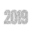 happy new year silver number 2019 silvery glitter vector image vector image