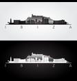 ibiza skyline and landmarks silhouette vector image vector image