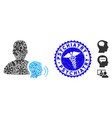 infected mosaic medium icon with healthcare grunge vector image vector image