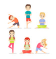 kid yoga gymnastic exercises cartoon flat vector image
