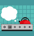 kitchen kettle on gas stove flat vector image vector image