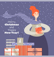 lovely redhead girl with gifts christmas card vector image vector image