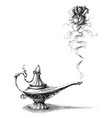magic lamp and rose love concept original idea vector image vector image