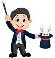 Magician cartoon pulling out a rabbit from his top vector image vector image