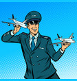 male airplane pilot model aircraft in hand vector image