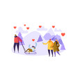 male and female characters in love on winter vector image vector image