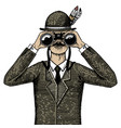 man in costume looking through the binoculars vector image