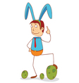 man with bunny ribbon vector image vector image