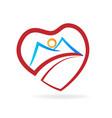 mountain heart love icon vector image vector image