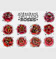 old school tattoo red roses set vector image vector image