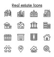 real estate building icon set in thin line style vector image vector image
