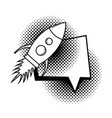 rocket flying with speech bubble pop art style vector image