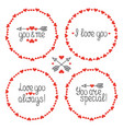 round heart frame i love you romantic labels vector image