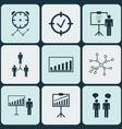 set of 9 management icons includes solution vector image vector image