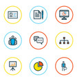 trade icons colored line set with unity contract vector image