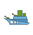 warship childs drawing style military combat boat vector image vector image