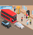 welcome to london isometric background vector image vector image