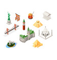 world famous landmarks - colorful isometric set of vector image