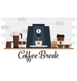 Coffee break flat design Cup set Coffee machine vector image
