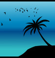 palm silhouette and birds flying on the shore vector image