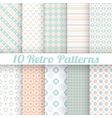 10 Pastel retro different seamless patterns tiling vector image