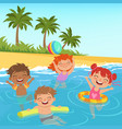 background of happy kids in pool vector image vector image