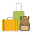 baggage luggage suitcases flat style vector image vector image