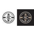 barbershop two style vintage round badge vector image vector image