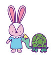 bashower cute little female rabbit and turtle vector image