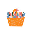 beautiful spring flowers in basket vector image