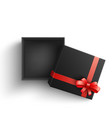 black present box with red ribbon bow open vector image vector image