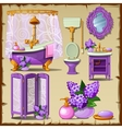 Bright card with interior objects of a bathroom vector image