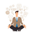 businessman meditation icon vector image vector image