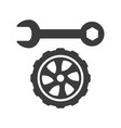 car wheel and wrench icons on white background vector image
