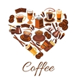 coffee love label in shape heart vector image vector image