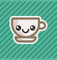 cute kawaii smiling coffee cup cartoon icon vector image vector image