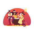cute little halloween girl witchs with broom vector image vector image