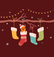 cute merry christmas and a happy new year holiday vector image vector image