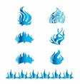 Fire Flames Blue Set Icons vector image vector image