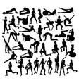 fitness and gym exercises sport silhouettes vector image vector image