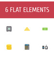 flat icons strongbox ingot remote paying and vector image vector image