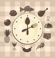 food banner with clock and different dishes vector image vector image