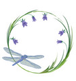 frame with dragonfly and blubells vector image