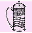 french press coffee or teapot vector image vector image