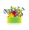 garden tools box isolated vector image vector image