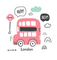 hand drawn london red bus in scandinavian style vector image