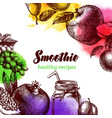 hand drawn sketch watercolor fruits background vector image