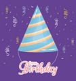 happy birthday card with party hat and confetti vector image
