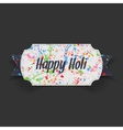 Happy Holi white Label with blue Ribbon vector image