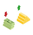isometric golden gold bars and dollar banknotes vector image vector image